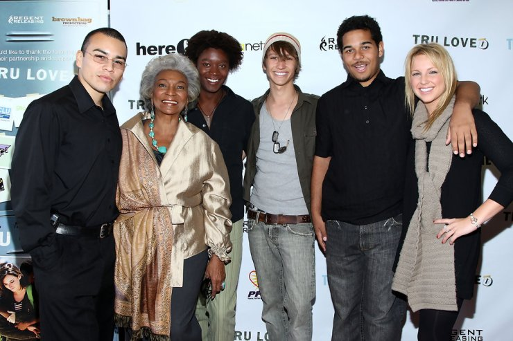 R to L: Actor Joseph Julian Soria, Nichelle Nichols, Mattew Thompson, Tye Olson, Bryan Erickson and actress Ellie Gerber arrive at the premiere of Regent Entertainment's